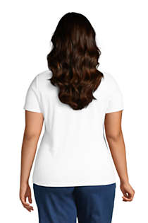Women's Plus Size Petite All Cotton Short Sleeve Crewneck T-Shirt, Back