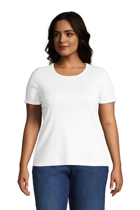 Women's Plus Size Petite All Cotton Short Sleeve Crewneck T-Shirt