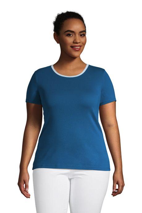 Women's Plus Size All Cotton Short Sleeve Crewneck T-Shirt