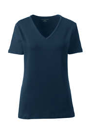 Women's Petite All Cotton Short Sleeve T-Shirt Rib Knit V-Neck