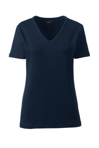 Rippshirt mit V-Ausschnitt für Damen