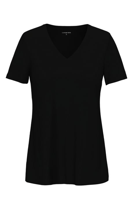 Women's Tall All Cotton Short Sleeve T-Shirt Rib Knit V-Neck