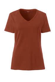 Women's Plus Size All Cotton Short Sleeve T-Shirt Rib Knit V-Neck