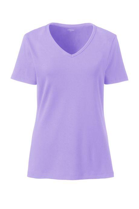 Women's All Cotton Short Sleeve T-Shirt Rib Knit V-Neck