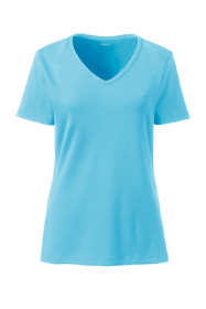 Women's Plus Size All Cotton Short Sleeve T-Shirt Rib Knit V-Neck
