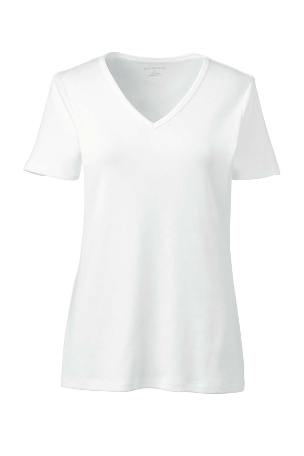 12de35e7e1a6 Women s All Cotton Short Sleeve T-Shirt Rib Knit V-Neck from Lands  End