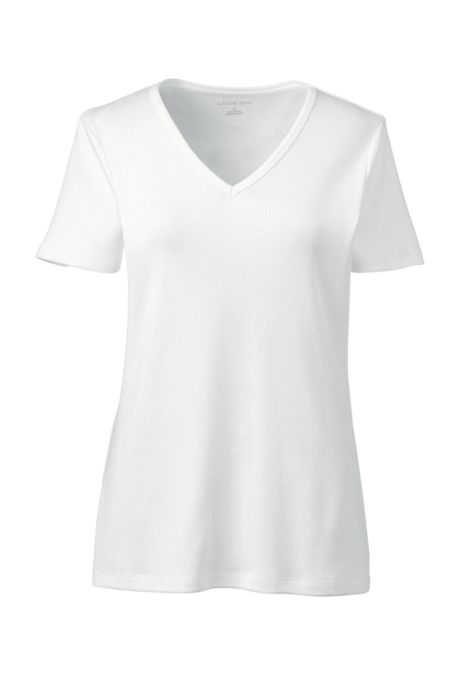 Women's All Cotton Short Sleeve T-Shirt Rib Knit V-Neck