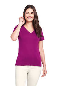 Women's Petite Shaped Cotton V-neck T-shirt