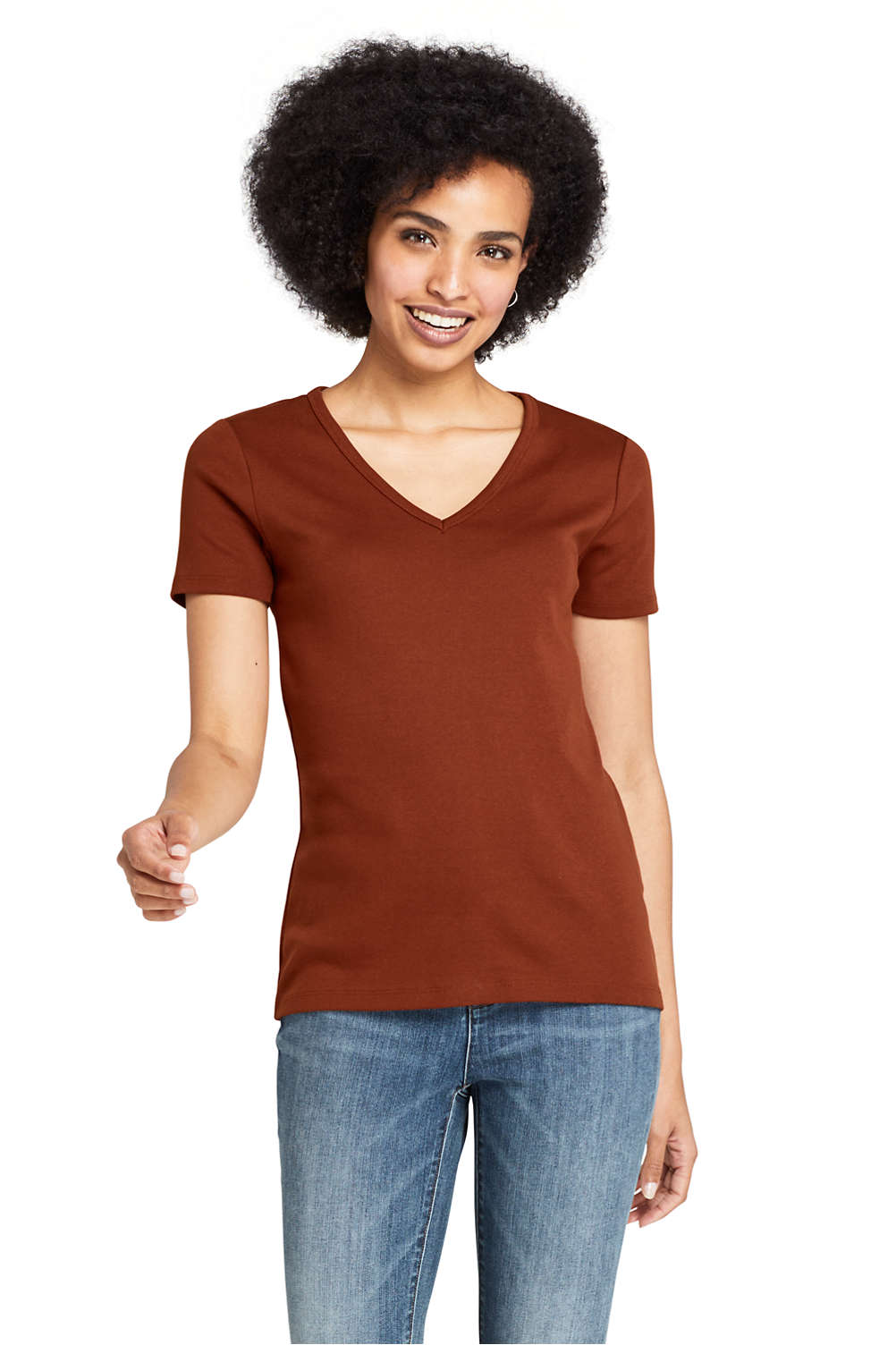 b399fbac7 Women's All Cotton Short Sleeve V-Neck T-Shirt from Lands' End