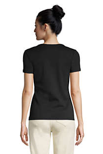 Women's All Cotton Short Sleeve V-Neck T-Shirt, Back