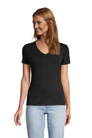 Women's Tall All Cotton Short Sleeve V-Neck T-Shirt