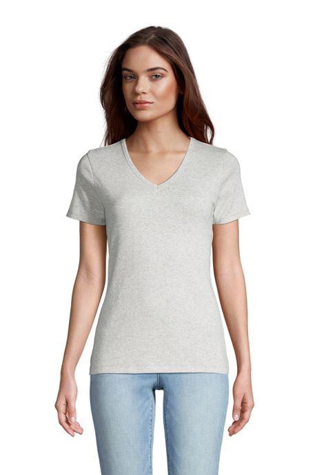 Women's All Cotton Short Sleeve V-Neck T-Shirt