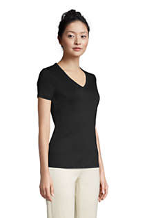 Women's All Cotton Short Sleeve V-Neck T-Shirt, alternative image