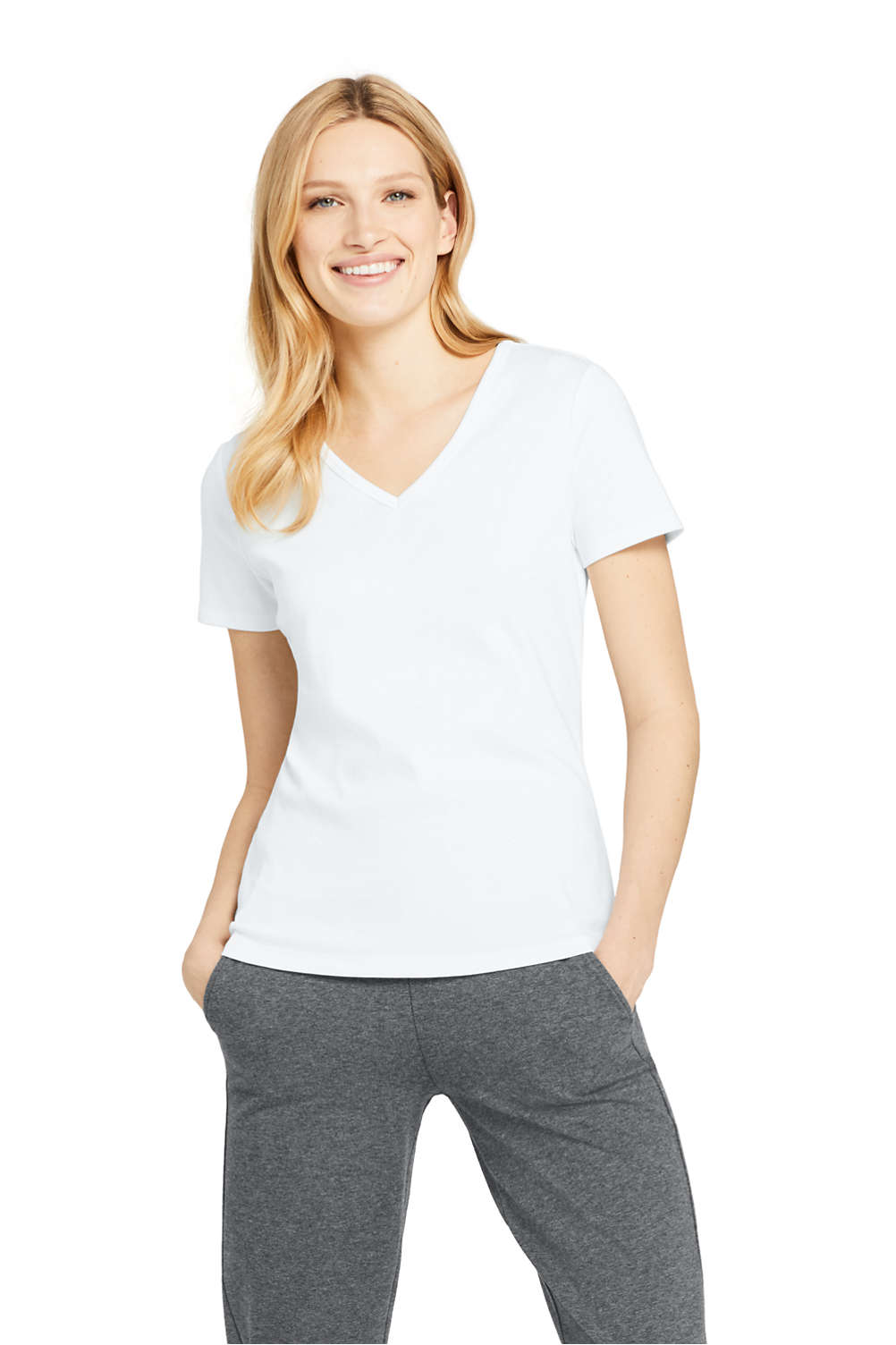 6fafdf1ca14040 Women's All Cotton Short Sleeve T-Shirt Rib Knit V-Neck from Lands' End