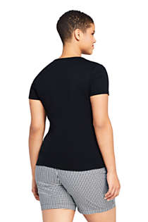 Women's Plus Size All Cotton Short Sleeve V-Neck T-Shirt, Back