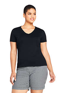 Women's Plus Size All Cotton Short Sleeve V-Neck T-Shirt, Front