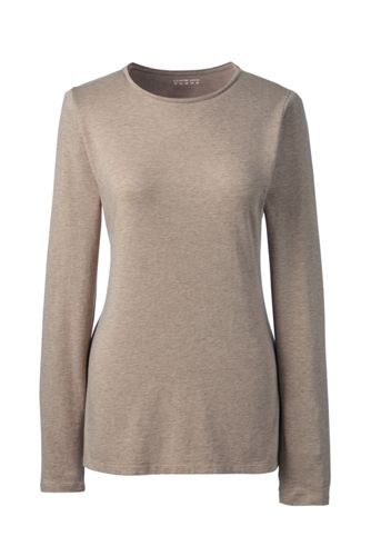 Women's Regular Long Sleeve Cotton/Modal Crew Neck Tee