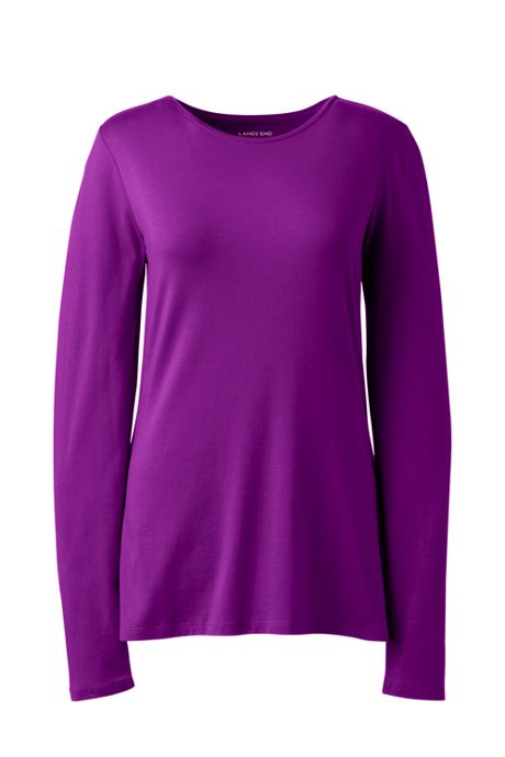Women's Plus Size Lightweight Fitted Long Sleeve Crewneck T-Shirt