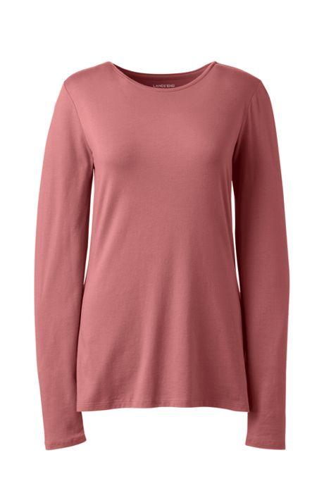Women's Lightweight Fitted Long Sleeve Crewneck T-Shirt