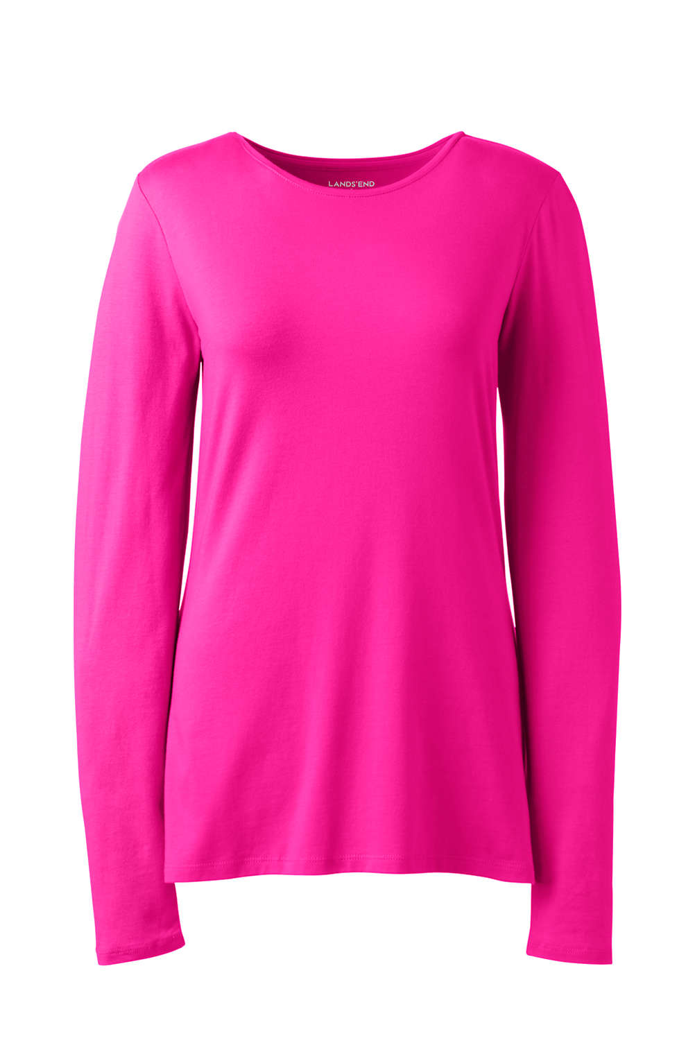 dcce57eac875 Women's Plus Size Lightweight Fitted Long Sleeve T-Shirt - Shaped Layering  Crewneck from Lands' End