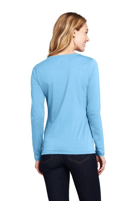 Women's Tall Lightweight Fitted Long Sleeve T-Shirt - Shaped Layering Crewneck