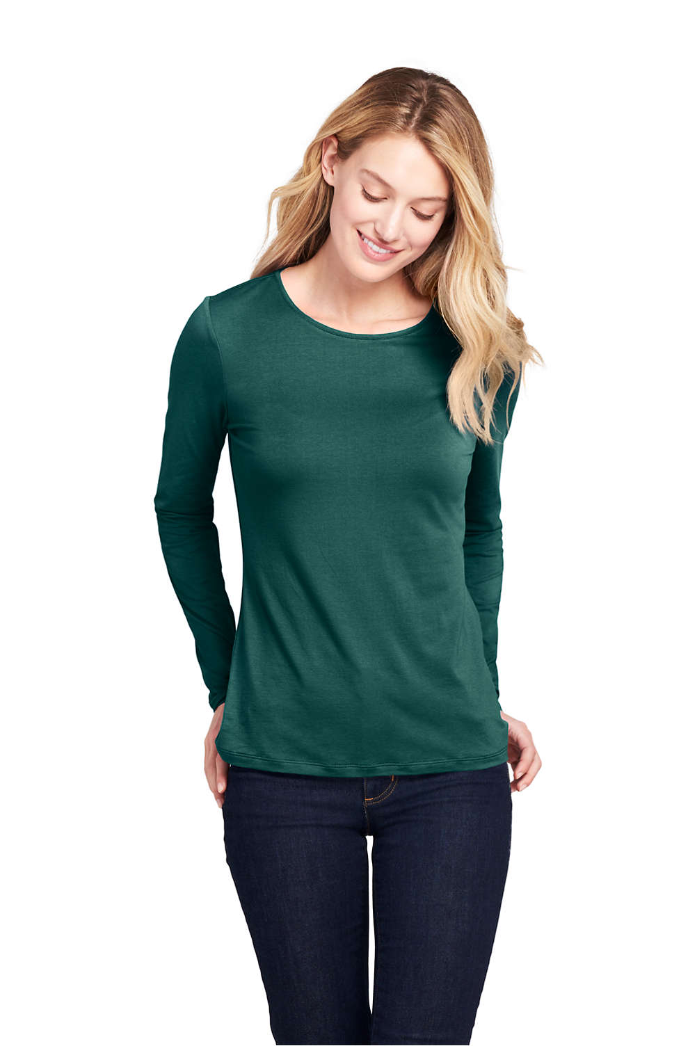 3311055e8582 Women's Lightweight Fitted Long Sleeve T-Shirt - Shaped Layering Crewneck  from Lands' End