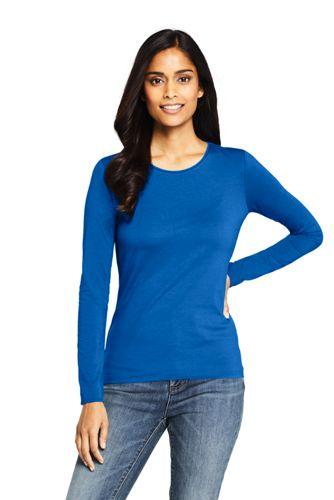 e1041aa64a45 Women's Long Sleeve Cotton-modal Crew Neck T-shirt | Lands' End