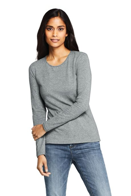 Women's Lightweight Fitted Long Sleeve T-Shirt - Shaped Layering Crewneck