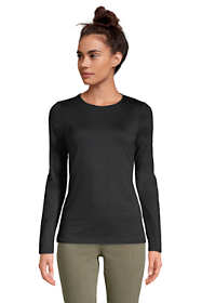 Women's Petite Lightweight Fitted Long Sleeve Crewneck T-Shirt