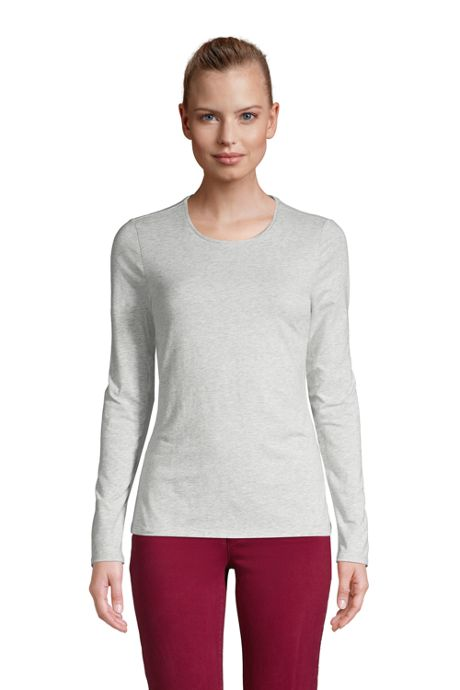 Women's Lightweight Fitted Long Sleeve Crewneck T-Shirt