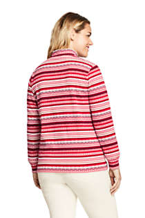 Women's Plus Size Relaxed Cotton Long Sleeve Mock Turtleneck, Back