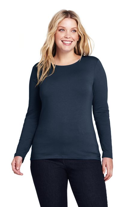 Women's Plus Size Lightweight Fitted Long Sleeve T-Shirt - Shaped Layering Crewneck