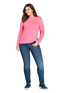 Women's Plus Size Lightweight Fitted Long Sleeve Crewneck T-Shirt, Unknown