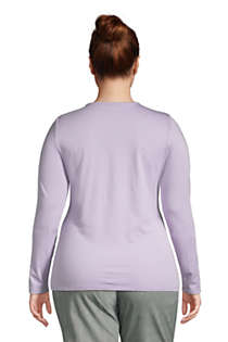 Women's Plus Size Lightweight Fitted Long Sleeve Crewneck T-Shirt, Back