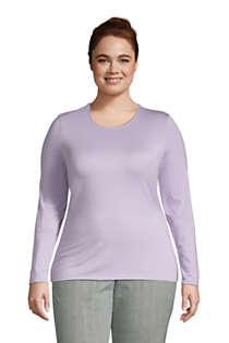 Women's Plus Size Lightweight Fitted Long Sleeve Crewneck T-Shirt, Front