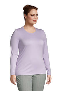 Women's Plus Size Lightweight Fitted Long Sleeve Crewneck T-Shirt, alternative image