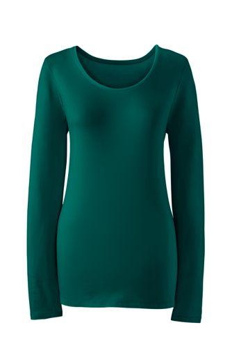 Le T-Shirt Stretch en Coton et Modal à Manches Longues, Femme Stature Petite
