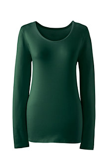 Women's Long Sleeve Cotton/Modal Scoop Neck Tee