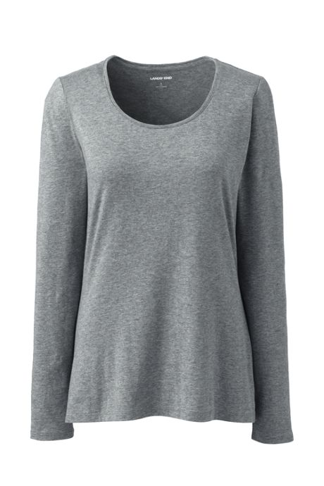 Women's Petite Lightweight Fitted Long Sleeve Scoop Neck T-Shirt
