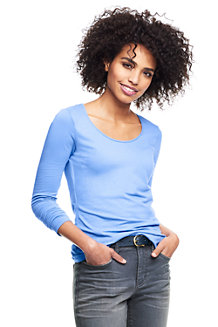 Le T-Shirt Stretch en Coton et Modal à Manches Longues, Femme