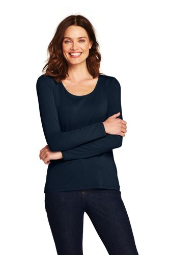 Women's Long Sleeve Cotton/Modal Scoop Neck T-shirt