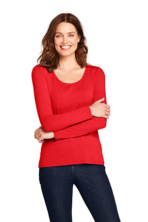 a4c6092dae Women's Long Sleeve Cotton/Modal Scoop Neck T-shirt | Lands' End