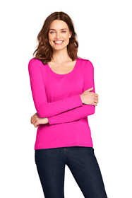 Women's Petite Lightweight Fitted Long Sleeve Scoopneck T-Shirt