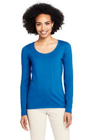 Women's Lightweight Fitted Long Sleeve Scoop Neck T-Shirt