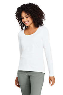 Women's Lightweight Fitted Long Sleeve Scoop Neck T-Shirt, Front