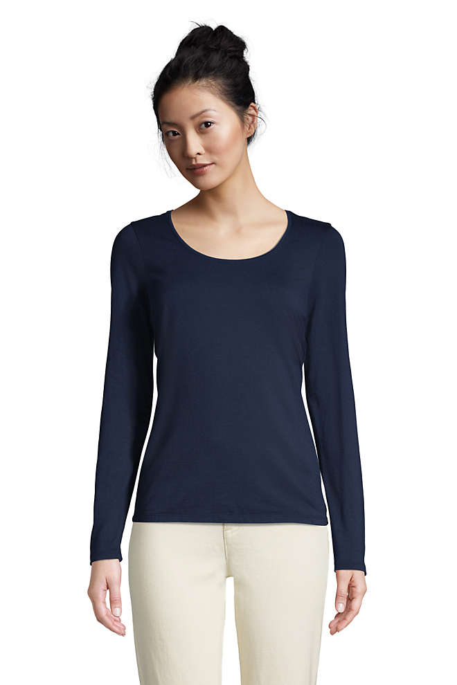Women's Petite Lightweight Fitted Long Sleeve Scoop Neck T-Shirt, Front