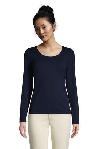 Women's Long Sleeve Cotton-modal Scoop Neck T-shirt
