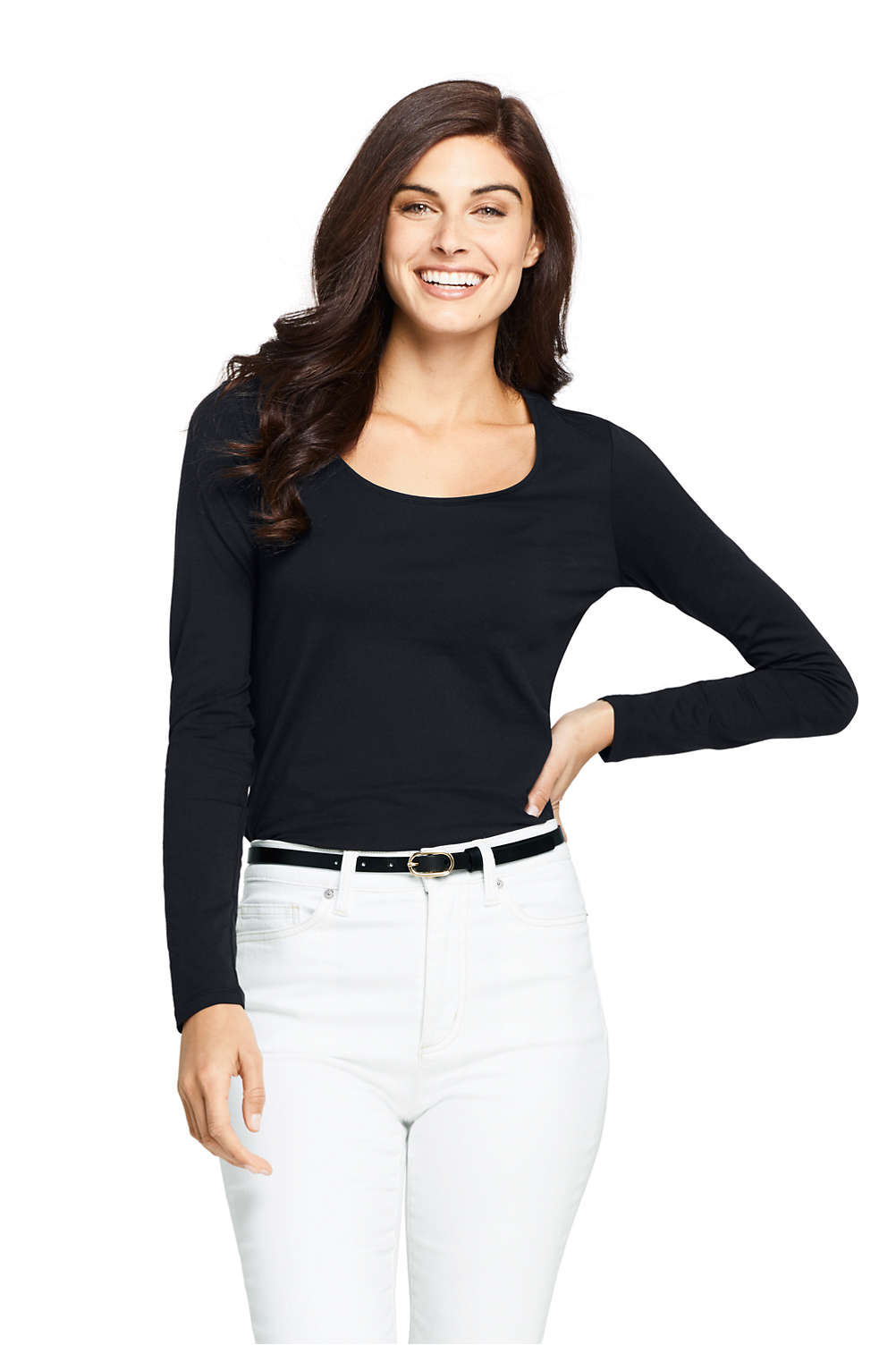 577e28dda9aa Women's Long Sleeve Fitted Scoopneck T-shirt from Lands' End