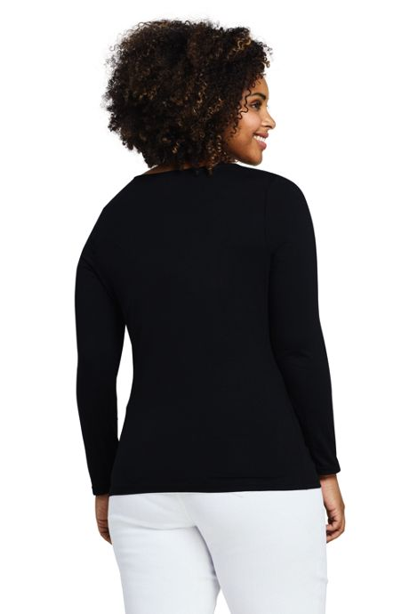 Women's Plus Size Lightweight Fitted Long Sleeve Scoop Neck T-Shirt