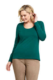 Women's Plus Size Lightweight Fitted Long Sleeve Scoopneck T-Shirt